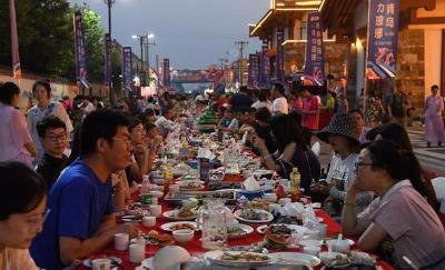 青岛西海岸渔家长桌宴开席