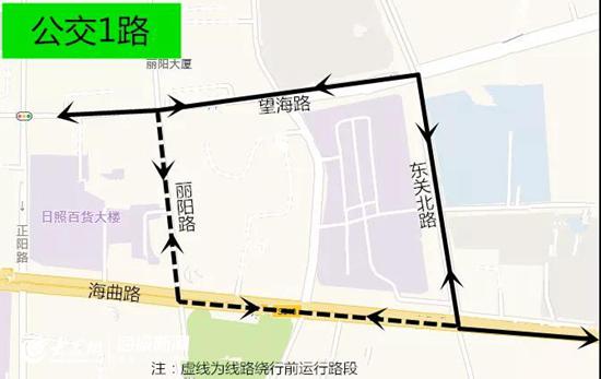 丽阳路施工 日照公交1、3、12、16路部分运行路段临时调整