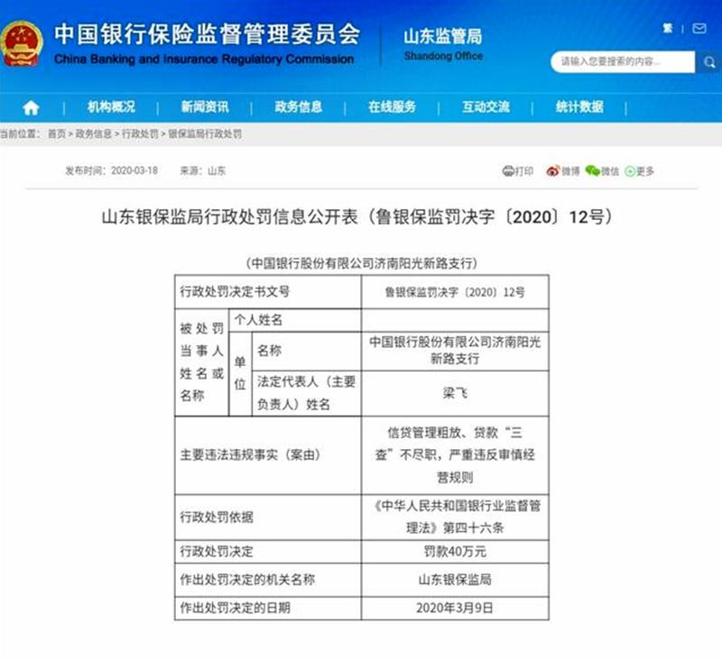 山东省银保监局对中国银行开出40万元罚单