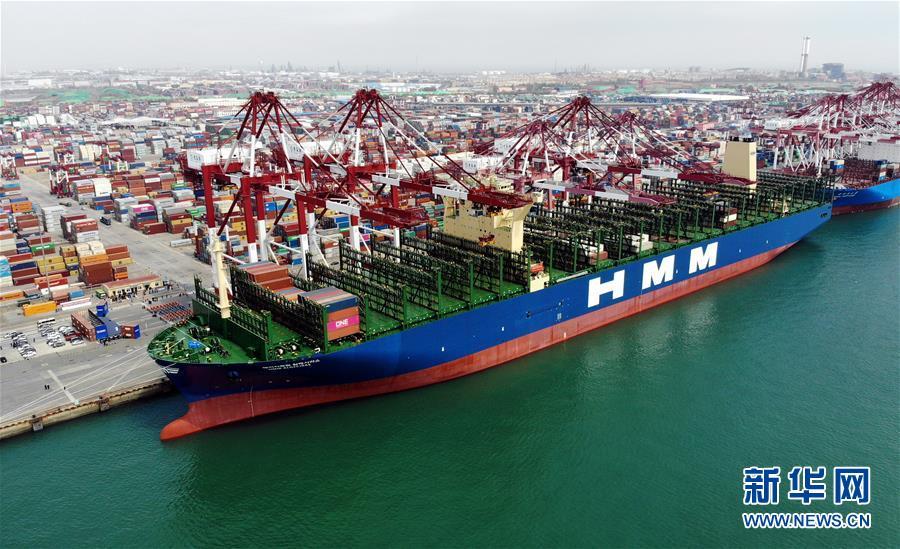 """现代商船阿尔赫西拉斯""""轮靠泊在青岛港前湾码头(无人机照片,4月26日摄)。 当日,载箱量可达2.4万标准箱的世界最大集装箱船""""现代商船阿尔赫西拉斯""""轮从山东青岛港开启首航,这条船的甲板面积超过2.4万平方米,相当于3.5个标准足球场大小。 新华社记者 李紫恒 摄"""