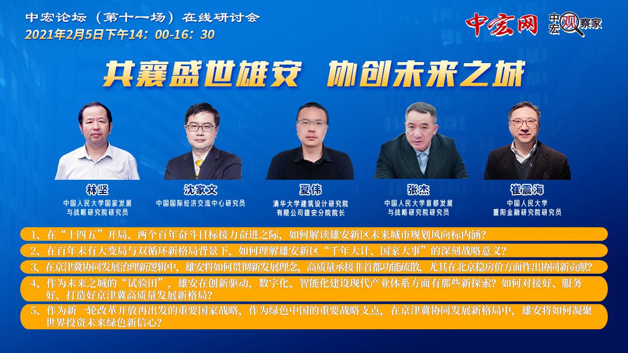 共襄盛世雄安 协创未来之城 ——中宏论坛第十一场在线研讨会召开